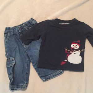 Winter outfit- snowman and carpenter jeans